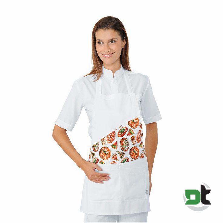 GREMBIULE UNISEX LOLLIPOP BIANCO PIZZA ISACCO - ristorante pizzeria pizzaiolo