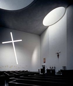 Interior. St. Basil's Chapel on the campus of St. Thomas University, Houston Texas.  Designed by Philip Johnson.