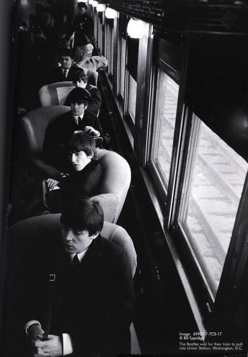 Beatles on a train