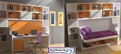 Habitacion juvenil con cama abatible con escritorio 32 - cama de 90cms