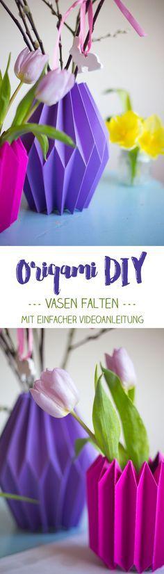 Origami Vasen aus Papier falten {einfache Anleitung inklusive Video auf Kreativfieber} Deko im Frühling selbermachen