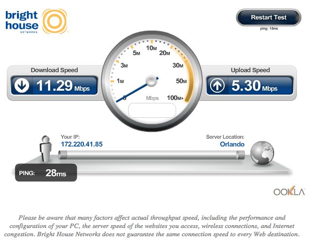 BrightHouse Online Speed Test - make sure you are using the speed of internet you are paying for!