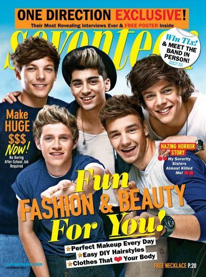¡One Direction en la portada de la revista Seventeen! ¿Qué tal se ven?: Favorite Singers, November 2012, Direction Infection, One Direction, Seventeen Magazines, Seventeen Covers, Direction Covers, Magazines Covers, Harry Style