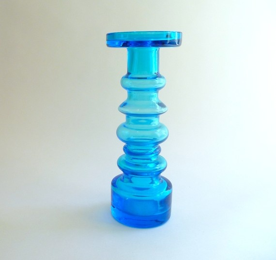 Scandinavian Modern Blue Glass Vase or Candlestick by Oiva Toikka for Nuutajarvi