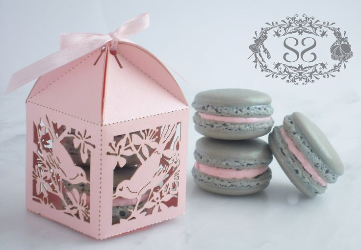 Wedding Favor Macaron Favor Song Bird Wedding Favor Box and (2) French Macaroon. $6.00, via Etsy.
