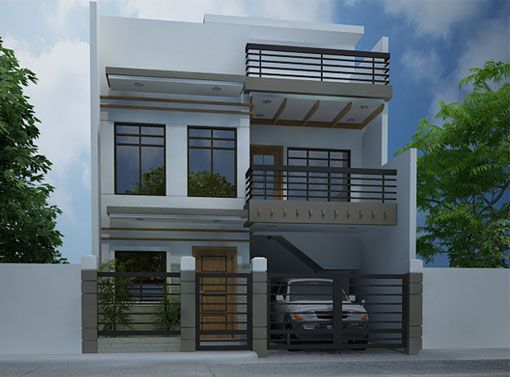 Modern house design 2012007 is especially designed to fit on a narrow lot having a width
