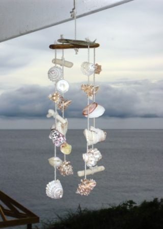 Seashell decoration, windchime, good craft to use a huge seashell collection with