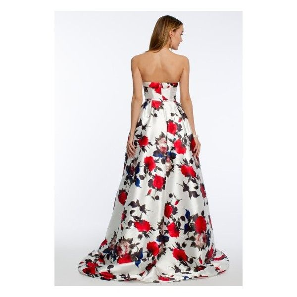 Rose Strapless Print Dress ❤ liked on Polyvore featuring dresses, gowns, white gown, floral print gowns, white floral dress, white prom dresses and floral prom dresses