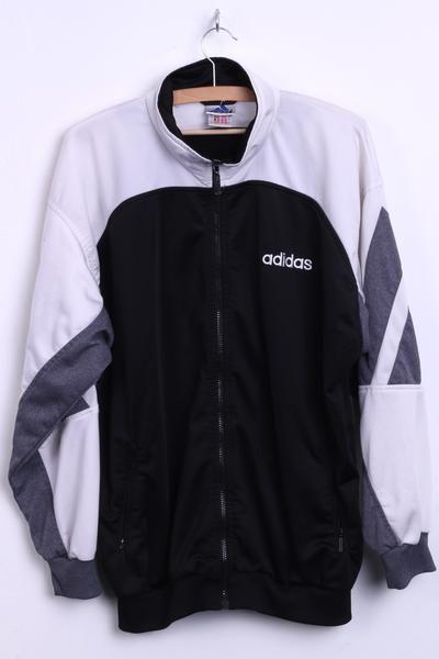 Adidas Mens L Sport Sweatshirt Black Embroided Logo Tracksuit Top - RetrospectClothes