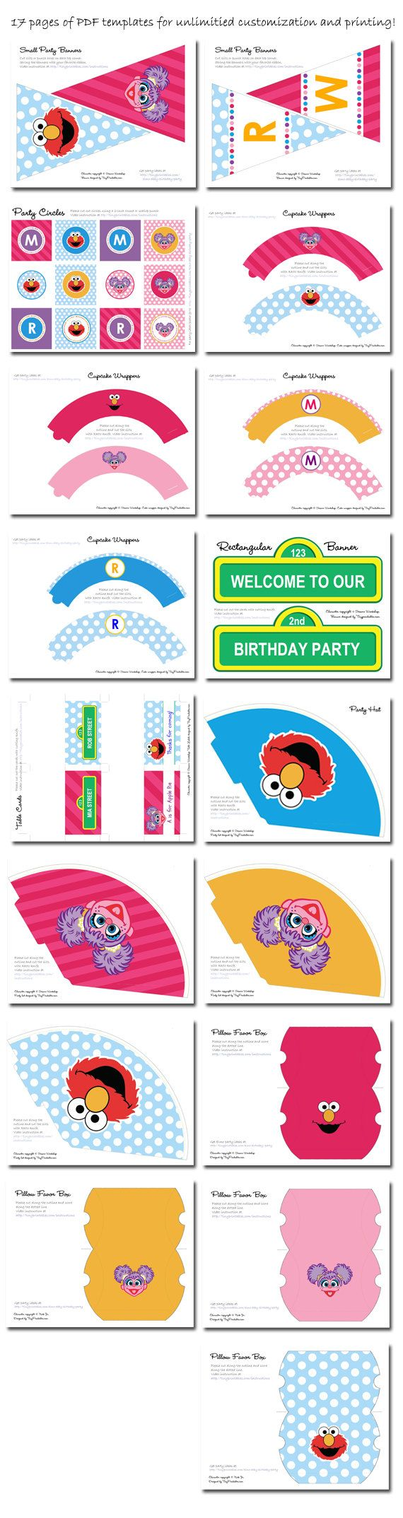 Sofia's 2.....Abby and Elmo Birthday Party Printables With Matching Invitations (Boy & Girl Version)