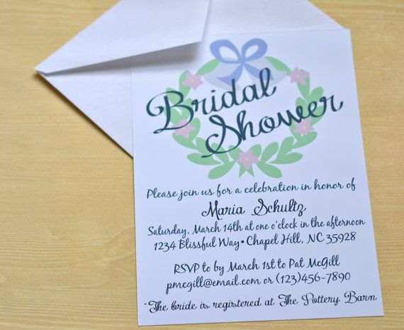 Simple springtime Bridal Shower Invitation. This  beautiful invitation is available for just $1.75 a piece! #wreath #springtime #bridalshower