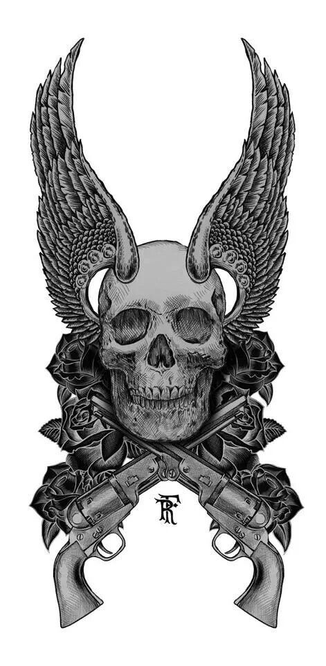 Skull wings guns roses | Things I love | Pinterest | Guns ...