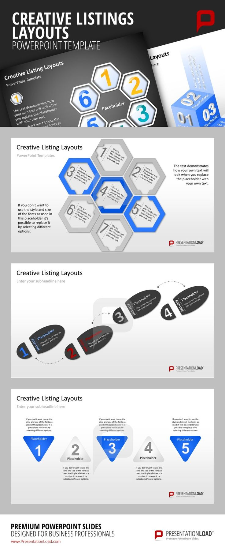 Creative Listings PowerPoint Template Get creative and list your facts & figures, pricings & rates of products or services with the unique graphic elements of our pre-designed Creative Listing Layouts templates.  #presentationload www.presentationl...