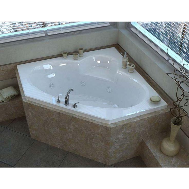 Venzi Ambra 60 x 60 Corner Air & Whirlpool Jetted Bathtub with Center Drain By Atlantis