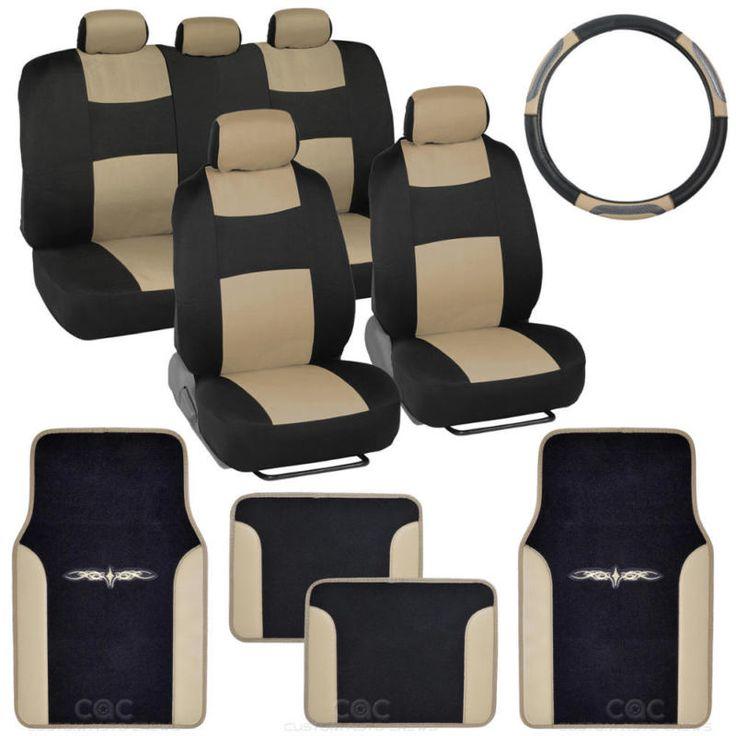 14PC Car Seat Covers Set Full Bench Black Beige W PU Leather Carpet Floor Mat
