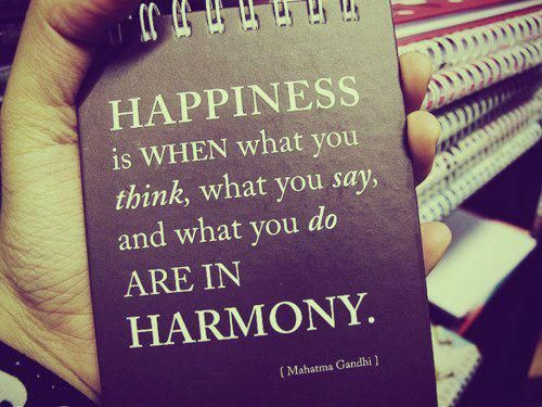 Happiness is when what you think, what you say, and what you do are in harmony.  Mahtma Gandhi