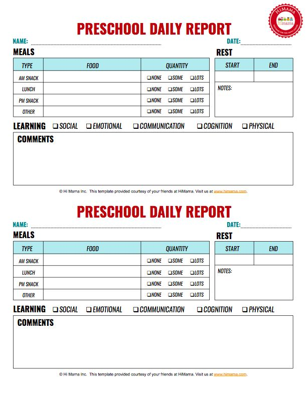 preschool daily activity report c ile web e hükmedin