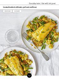 Waitrose Food October 2016: Smoked haddock with leeks, spelt and cauliflower