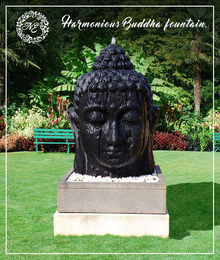 Large Buddha Head Fountain: This Large Mesmerising Fibre Stone Buddha Head Water