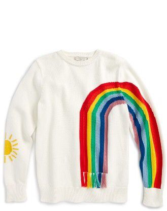 Girl's Stella Mccartney Kids Pumpkin Rainbow Sweater