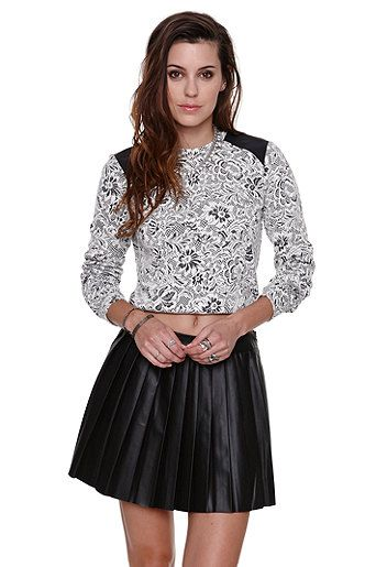 $35 Nollie Leather Shoulder Cropped Sweater at PacSun.com