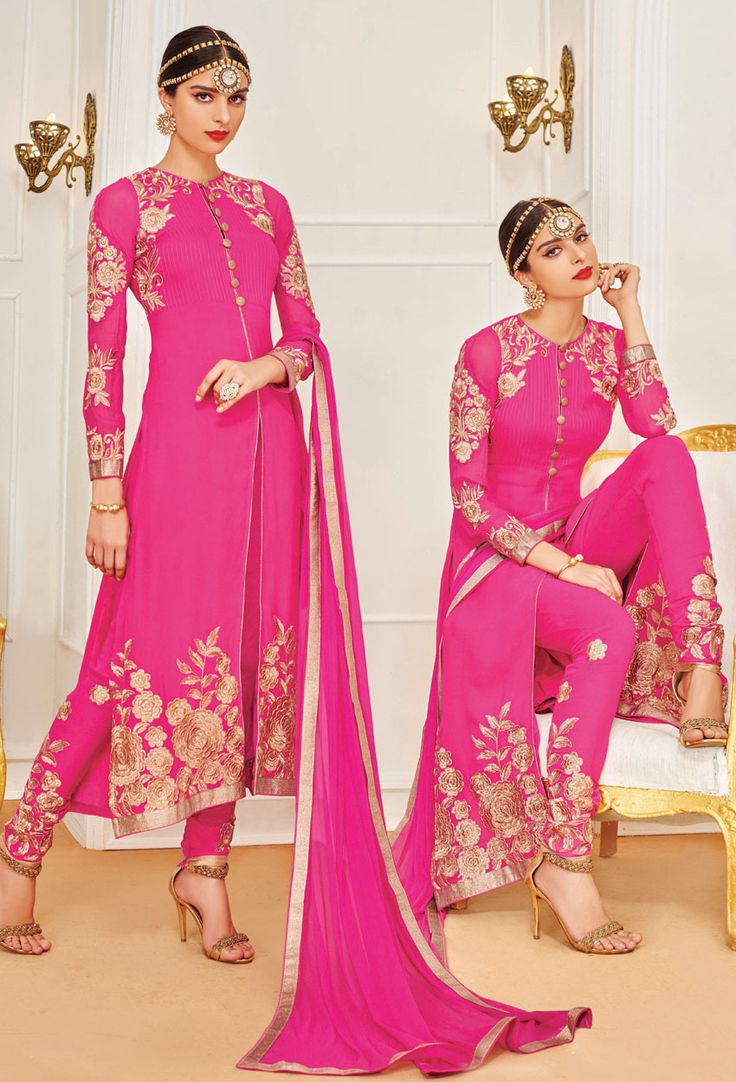 #Semi Stitched #Dark #Pink #Achkan #Style #Salwar #Kameez #nikvik  #usa #designer #australia #canada #freeshipping #fashion #dress #suits #sale