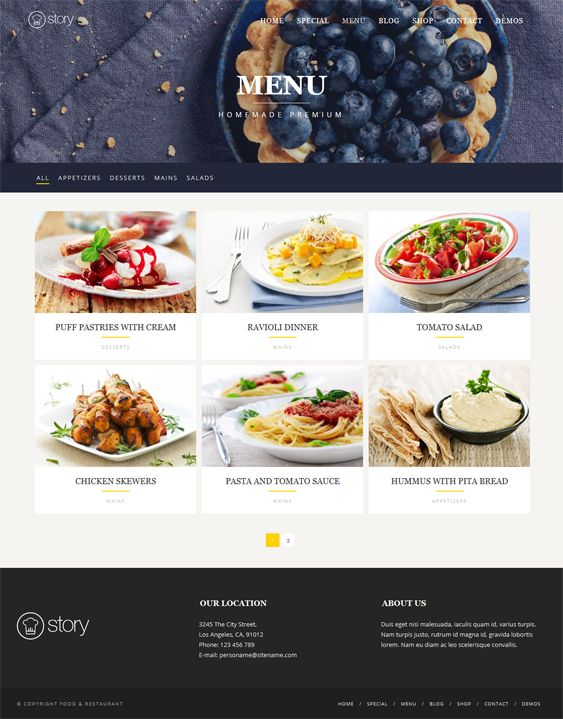 This restaurant theme for WordPress comes with a responsive layout, parallax effects, a fullscreen slider, WooCommerce support, an advanced gallery, unlimited colors, a custom header, more than 600 Google Fonts, and more.