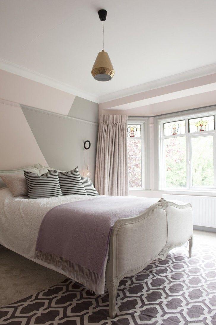 Pastel colored bedroom #pastel #color #bedroom #design #interior #wallpaint #bed #window