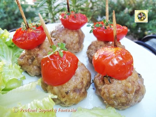 Polpette al forno con pomodorini, ricetta Blog Profumi Sapori & Fantasia