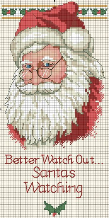 Cross-stitch Santa is Watching ... no color chart available, just use pattern chart as your color guide.. or choose your own colors... Gallery.ru / Фото #79 - 15 - uni4ka