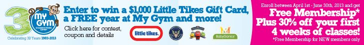 Celebrate My Gym's 30 Birthday and Enter to Win $1000 Little Tykes GC! http://www.espacularaiesa.com/2013/04/30/celebrate-my-gyms-30-birthday-and-enter-to-win-1000-little-tykes-gc/