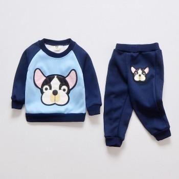 Adorable Dog Print Raglan Long-sleeve Top and Pants Set for Baby and Toddler
