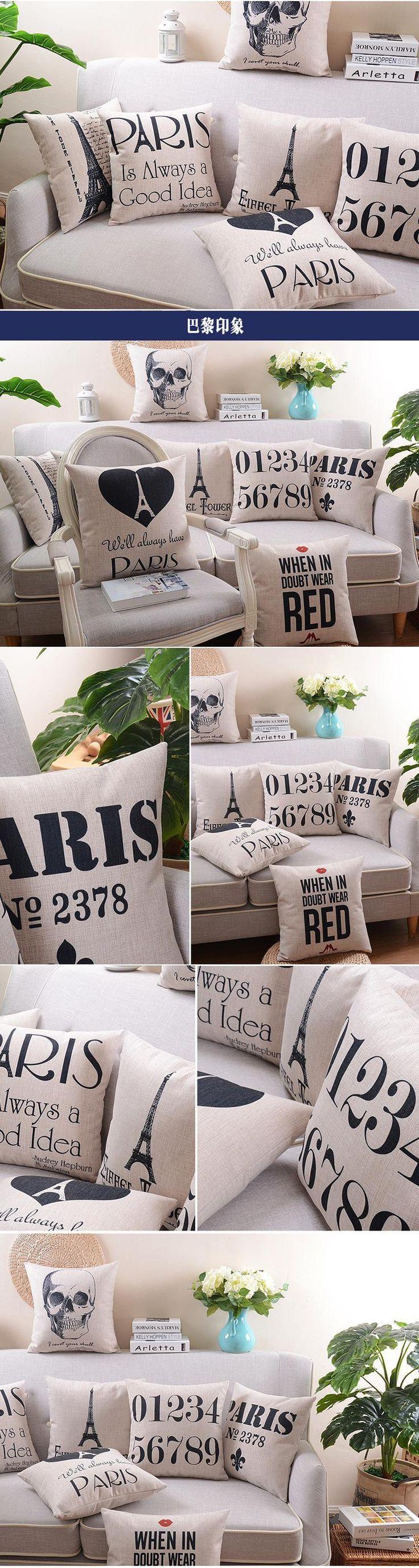 Parisian Vintage Seat Cushion Scandinavian Simplicity Cushions Home Decor Black And White Art Chair Cushion Free Shipping $5.55