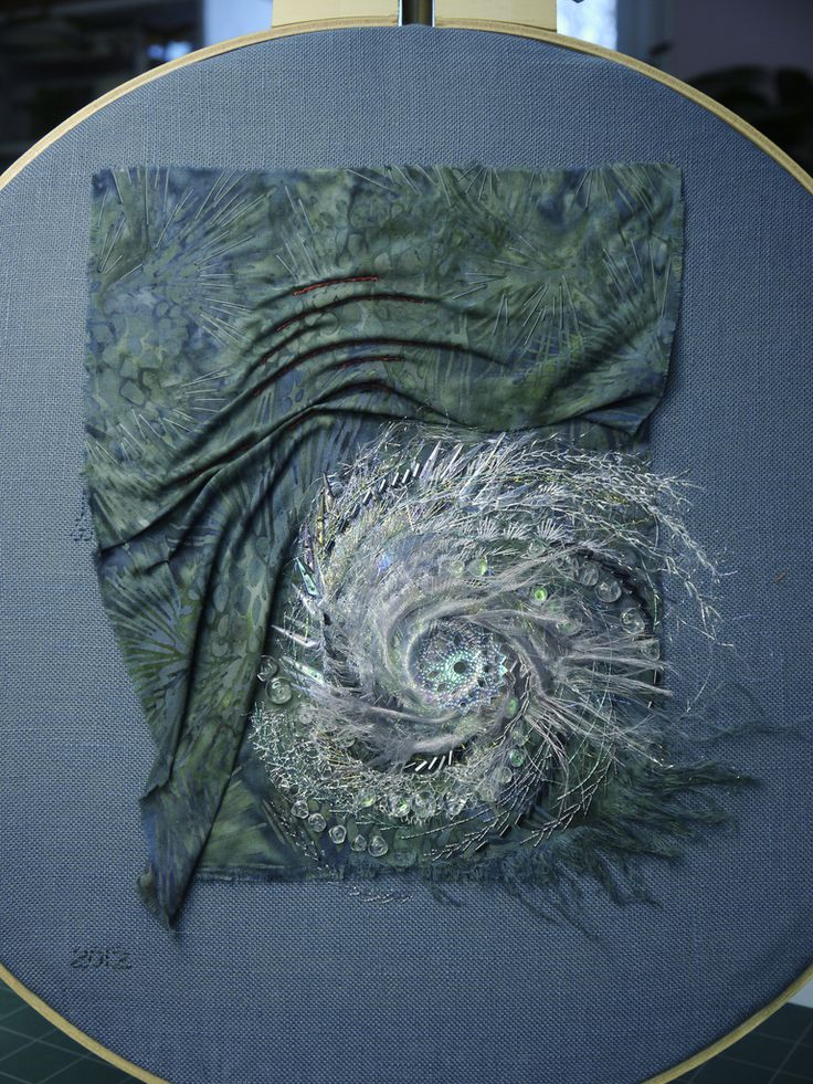 "Carol Walker, Landfall, 8.5x10.5"", 12-2011 #fiber art #embroidery - Carol's work is amazing! Look at that hurricane!"