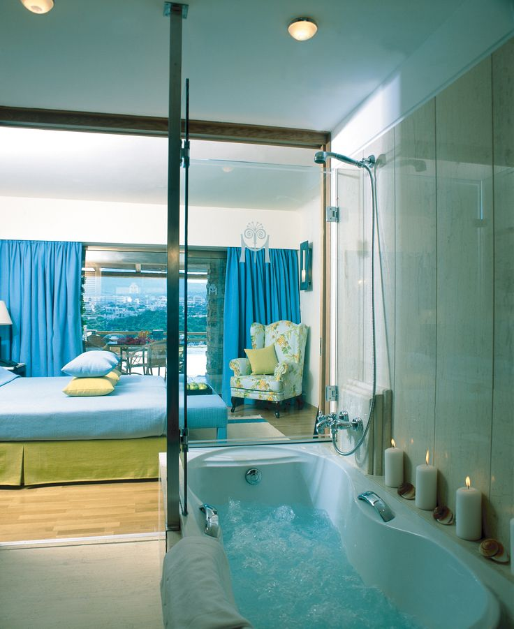 Minos Palace's Suite with private pool. Its bathroom #luxury #summer #holidays