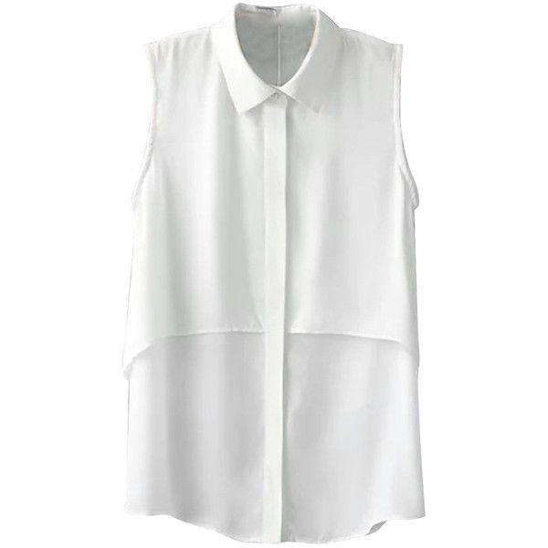 White Plain Turndown Collar Sleeveless Vintage Ladies Blouse found on Polyvore