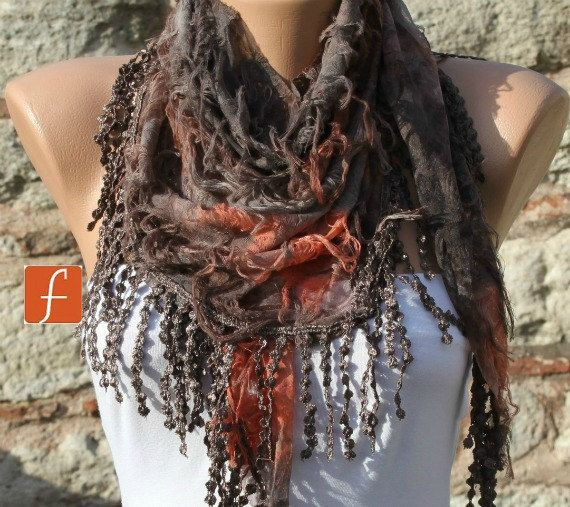 ON SALE - Brown Orange Scarf -  Cowl with Lace Edge by Fatwoman on Etsy, $16.30