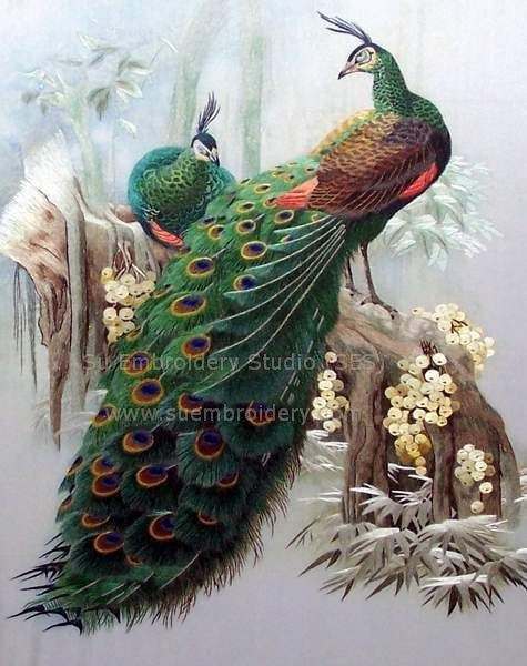 silk hand embroidered Peacocks painting