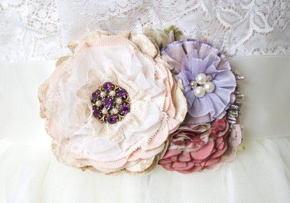 Matrimonio vestito cintura fascia viola e Sash floreale