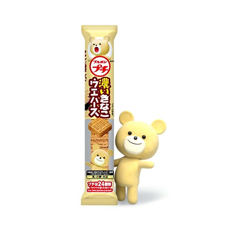 Bourbon's Petit Series is one of the most popular and fun Japanese snack products. This product is Petit Kinako Roasted Soybean Flour Wafers, a perfect choice for morning and afternoon tea!Each product of the Petit Series is supportedby a different Petit Bear - See KinakoPetit Bear so cutely smiles at youon the package (*the bear is not part of this product)!Enjoy your petit afternoon tea adventure with Bourbon Petit Kinako Roasted Soybean Flour Wafers.  Producer:Bourbon ブルボン Country…