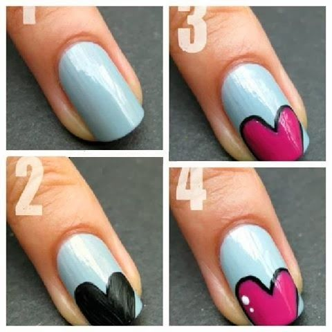 Heart Nail Art Design For Little Girls