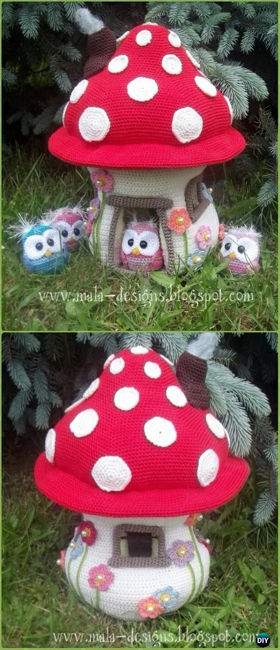 Amigurumi Mushroom House Paid Pattern -Amigurumi Crochet Mushroom Softies Patterns