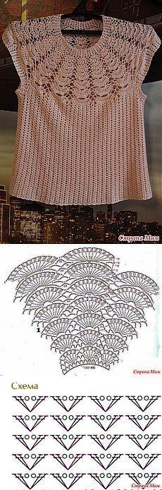 Вязание: персиковый топ на круглой кокетке.