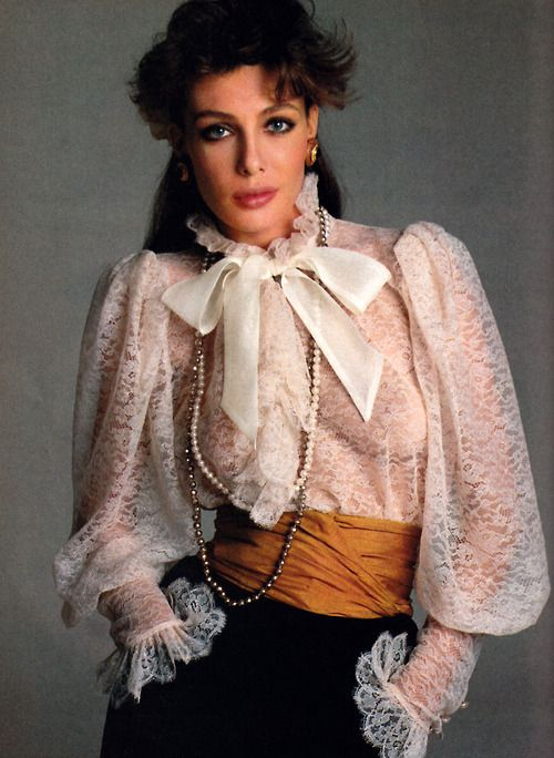 Francesco Scavullo for American Vogue, April 1981. Clothing by Yves Saint Laurent. Model: Kelly LeBrock