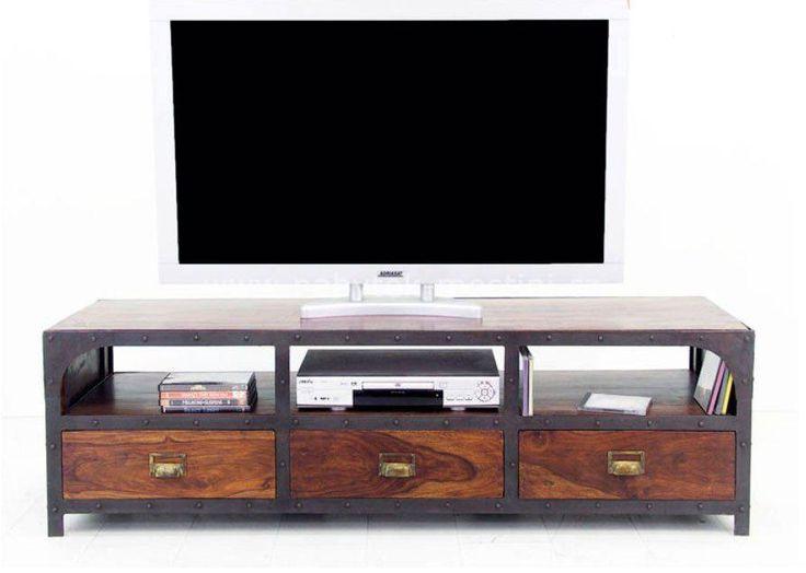 Industrial TV 01 - TV stolek z masivu palisandru a kovu
