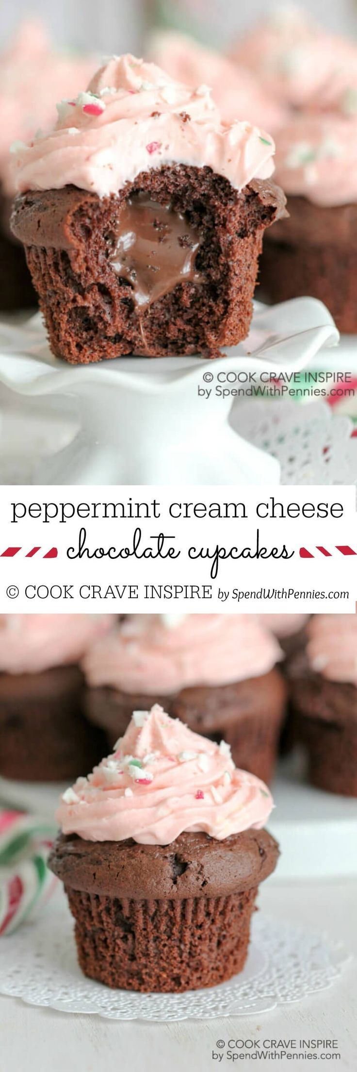 Soft and delicious, these chocolate filled cupcakes are easy to make with a yummy peppermint peppermint cream cheese frosting! The perfect Christmas Cupcake idea!