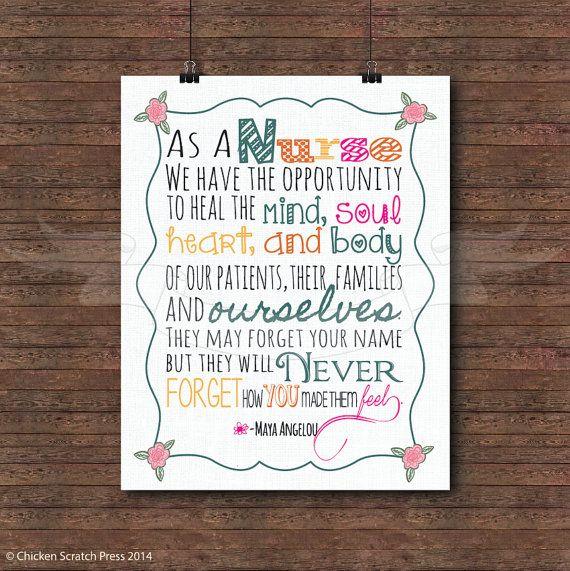 Nurse Poem by Maya Angelou, typography, print, home decor, wall art, nursery print, poem on Etsy, $8.00