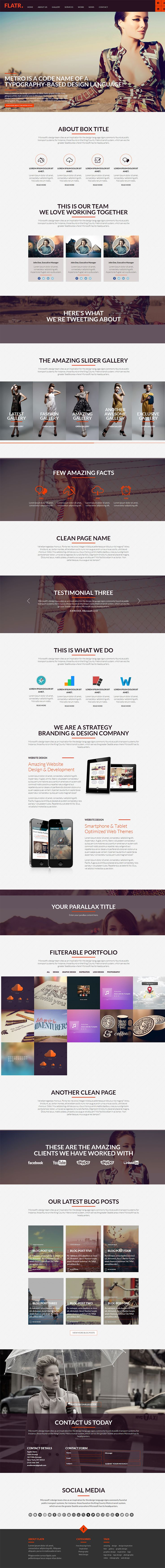 Very long #onepage webdesign. It's becoming a bit generic. #Flat Metro #Parallax #Onepage #Theme #webdesign