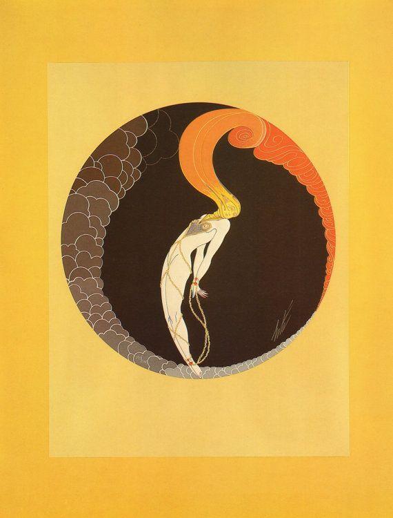 """2 Vintage ERTE Art Deco Prints """"The Emotions L'AMOUR and La JALOUSIE """" Fashion…"""