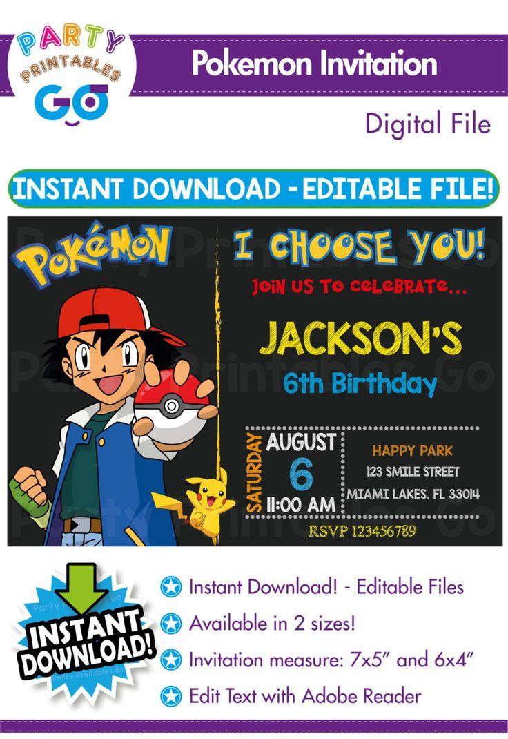 SALE-> 50% OFF Pokemon invitation, Pokemon birthday invitation, Pokemon invitations, Pokemon Invitation, Editable PDF, Instant Download by PartyPrintablesGo on Etsy https://www.etsy.com/listing/457100416/sale-50-off-pokemon-invitation-pokemon